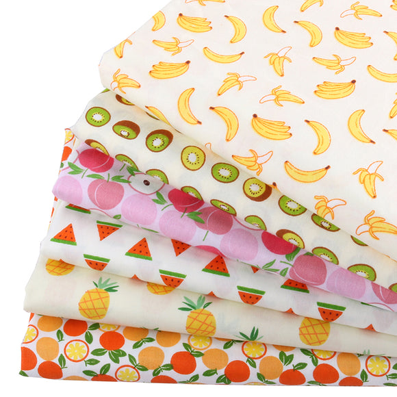 Fruity Pattern Twill Cotton Fabric -20x25cm - 6pcs/Pack