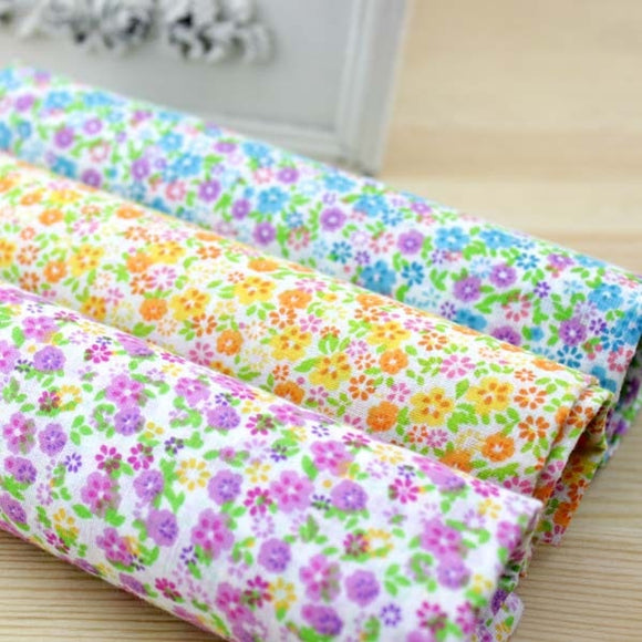 Sweet Floral Print Cotton Fabric - 50x50cm -3pcs/Pack