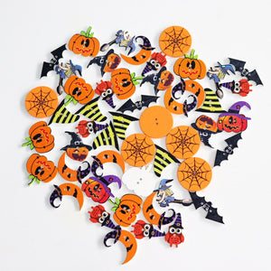 Halloween Wood Buttons - 50pcs/Pack