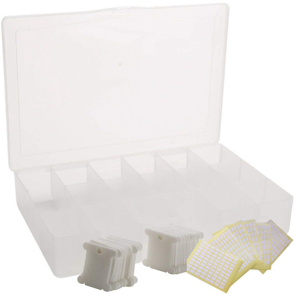 Thread Embroidery Floss Organizer Box  with 100 Hard Plastic Floss Bobbins and 480 Floss Number Stickers