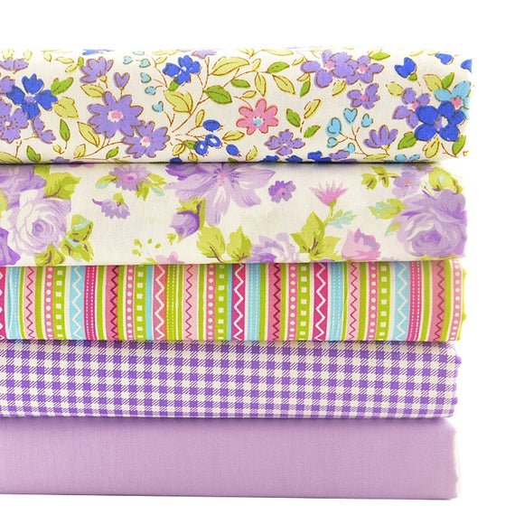 Touch of Purple Twill Cotton Fabric - 40x50cm - 5pcs