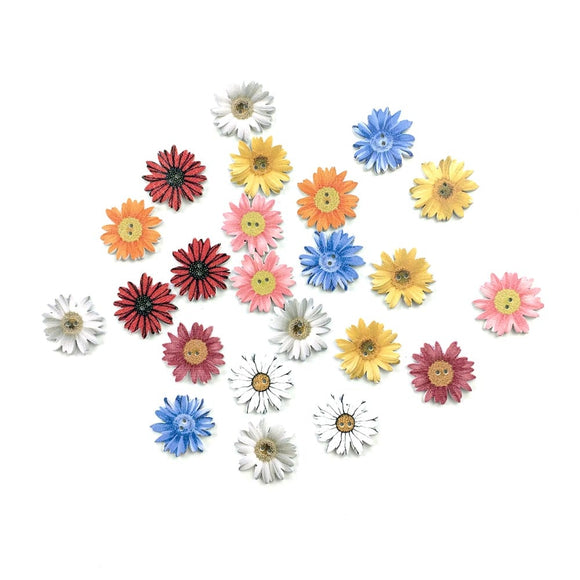 Wooden Daisy Buttons - 50pcs/Pack
