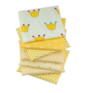 "Mixed Yellow Collection Twill Cotton Fabric - 15.7"" x 19.7"" - 7pcs/Pack"