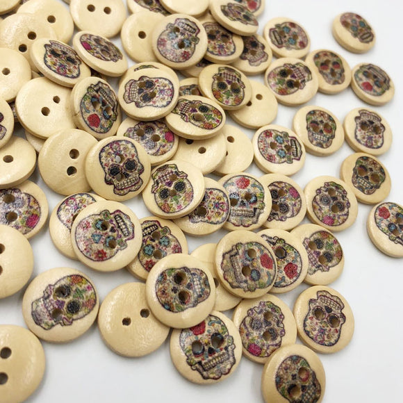 Skull Head Print Wood Buttons - 15mm - 100pcs/Pack