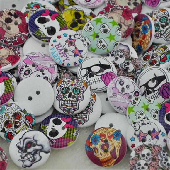 Assorted Skull Print Wooden Buttons - 100pcs -20mm
