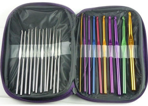 22pcs set Mixed Color Aluminum Crochet Hook Needles Set with Case