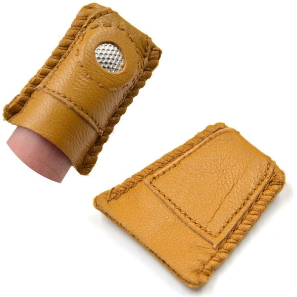 Synthetic Leather Coin Thimble With Metal Tip DIY Sewing Tool