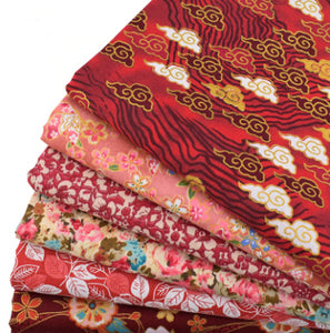 Printed Red Twill Cotton Fabric 40x50cm - 6pcs/Lot