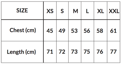 unisex sizing guide