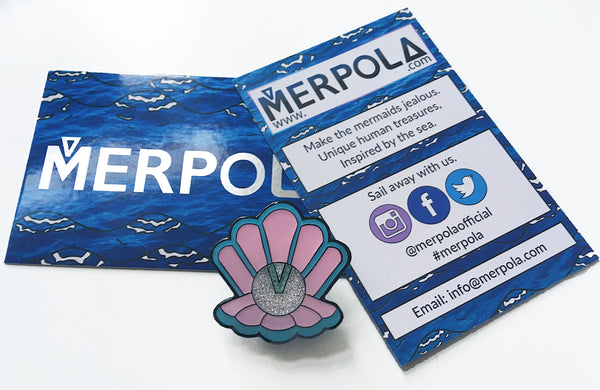 Merpola Business Cards Front Back Clamshell Clan Enamel Pin