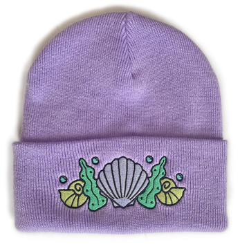 Shell Crown Beanie Hat - Shell Bra Lavender