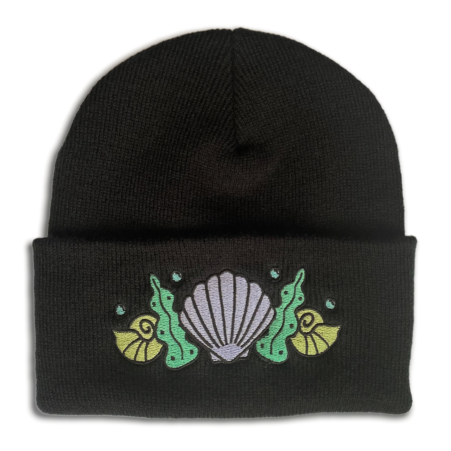 Shell Crown Beanie Hat - Killer Whale Black