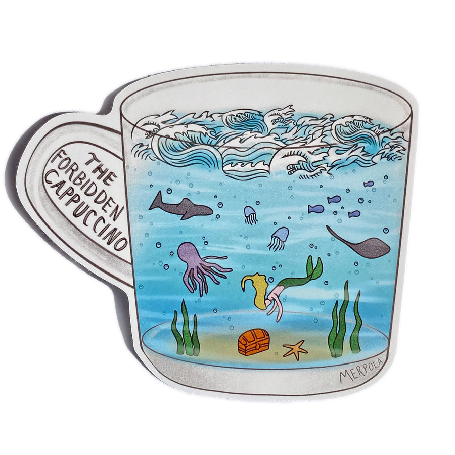 Underwater Coffee Cup - Vinyl Sticker