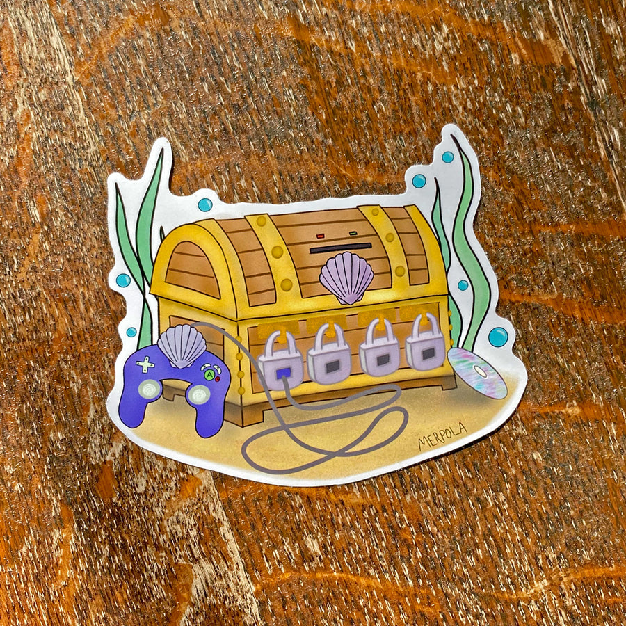 Mermaid Gamer Treasure Chest - Vinyl Sticker