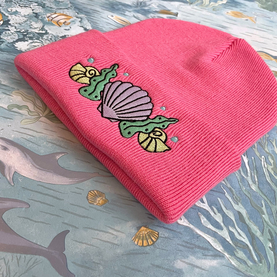 Shell Crown Beanie Hat - Coral Pink