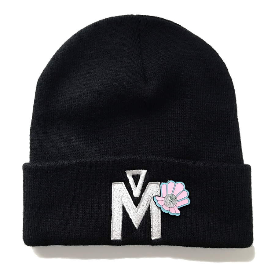 Embroidered Silver Beanie & Clamshell Pin COMBO PACK - Merpola
