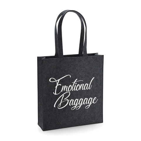 Emotional Baggage Funny Felt Tote Bag - SimpleThingsCards