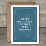 Happy Anniversary of Your 29th Birthday - SimpleThingsCards