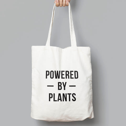Powered By Plants Slogan Tote Bag - SimpleThingsCards