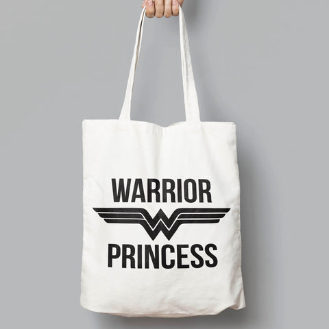 Warrior Princess, Wonder Woman Slogan Tote Bag - SimpleThingsCards