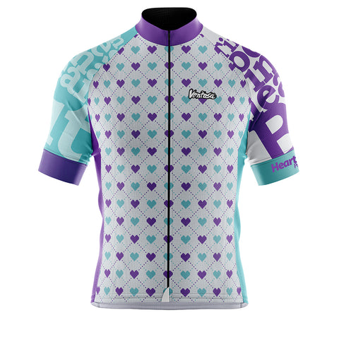 Cycling Jersey Heart Beat White