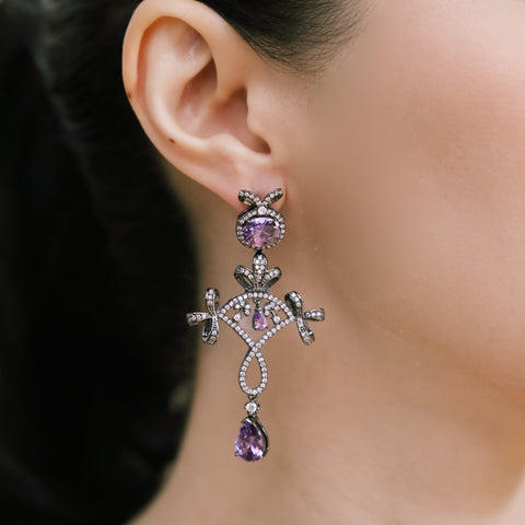 PARIS AT NIGHT PURPLE CRYSTAL EARRINGS