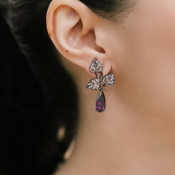 AUTUMN LEAVE AND PURPLE CRYSTAL EARRINGS