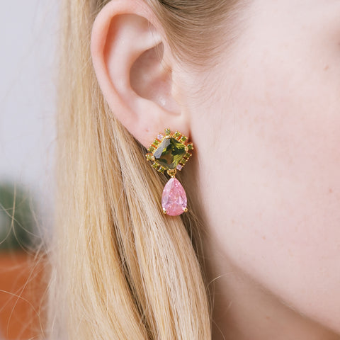 DELICIOUS OLIVE GREEN AND PINK CANDY EARRINGS