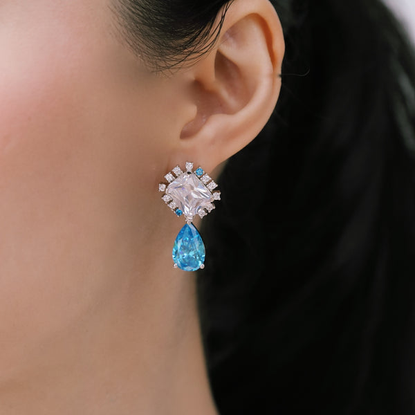 CRYSTAL CLEAR AND AQUAMARINE CANDY EARRINGS