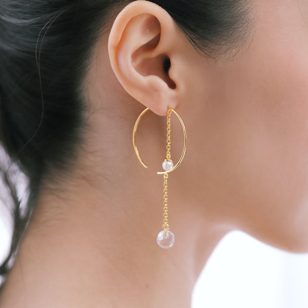 DAILY CHIC PEARL AND CRYSTAL EARRINGS