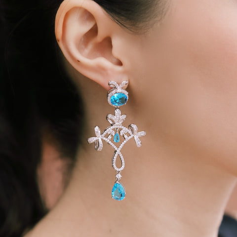 PARISIAN BLUE CRYSTAL EARRINGS