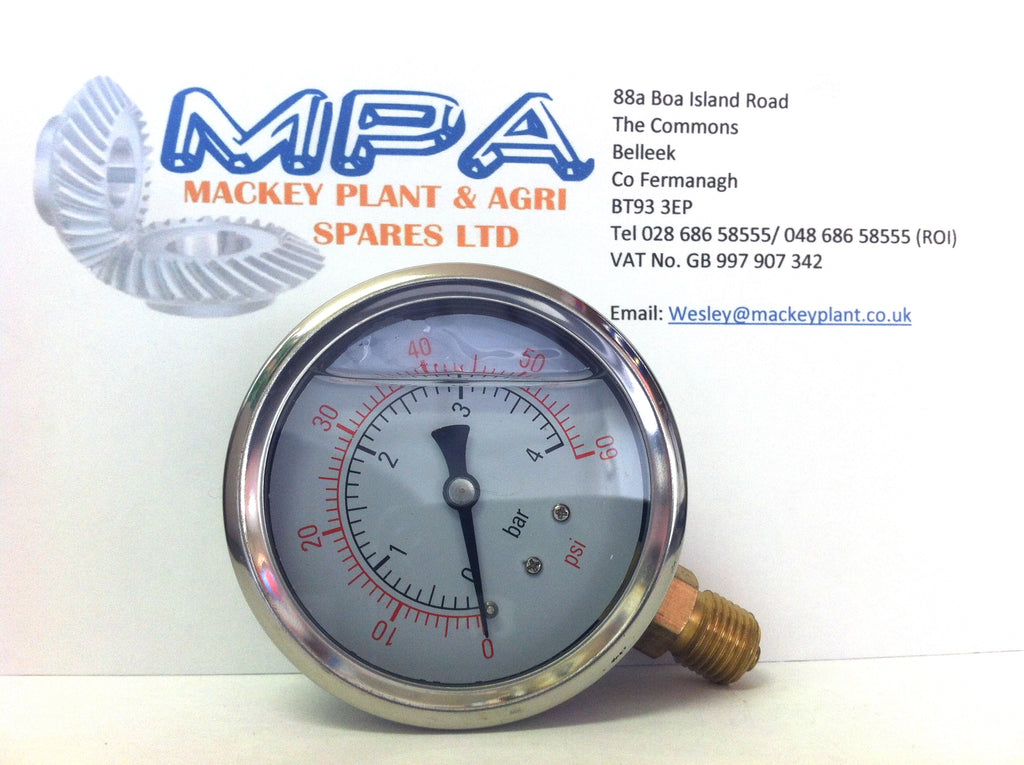 Hydraulic Glycerine Pressure Gauge 60Psi, 63 mm, Bottom Connection 1/4