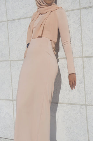b8fdb03f579b Amina Long Sleeve Fitted Maxi Dress - Nude