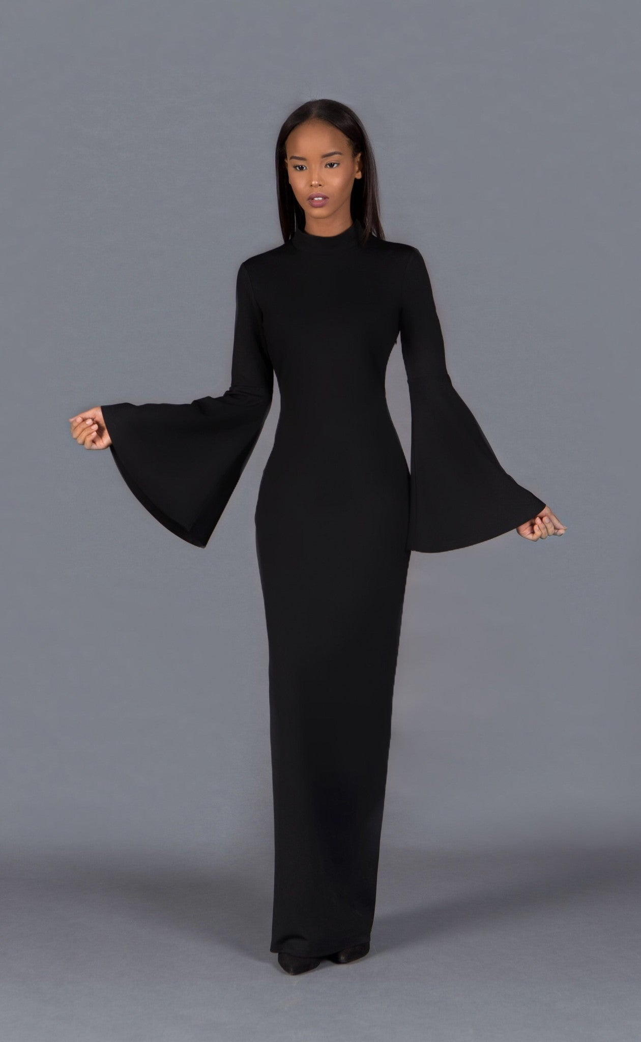 long sleeve maxi dress with bell sleeves