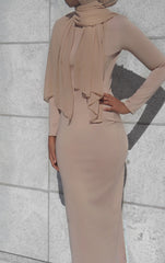Amina Long Sleeve Fitted Maxi Dress - Nude