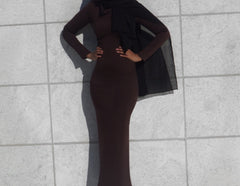 Amina Long Sleeve Fitted Maxi Dress - Mocha