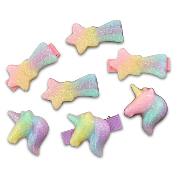 Pastel Shooting Star & Unicorn Resin Hair Clips