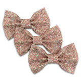 Valentine Sparkle No-Shed Glitter Basic Bows Hair Clip Accessories for Girls