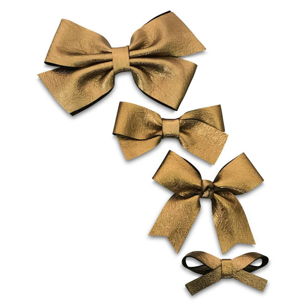 Black Gold Leather Hair Bows-no slip leather hair bows no slip leather hair clips-Moo G Clips