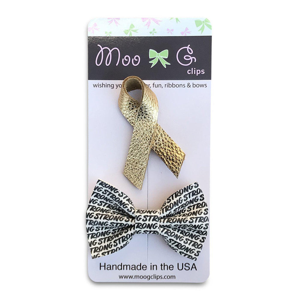 Childhood Cancer Awareness Gift Set-no slip leather hair bows no slip leather hair clips-Moo G Clips