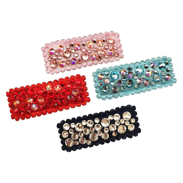 Crystal Encrusted Small Snap Clips-no slip girls hair clips - no slip baby hair bows-Moo G Clips