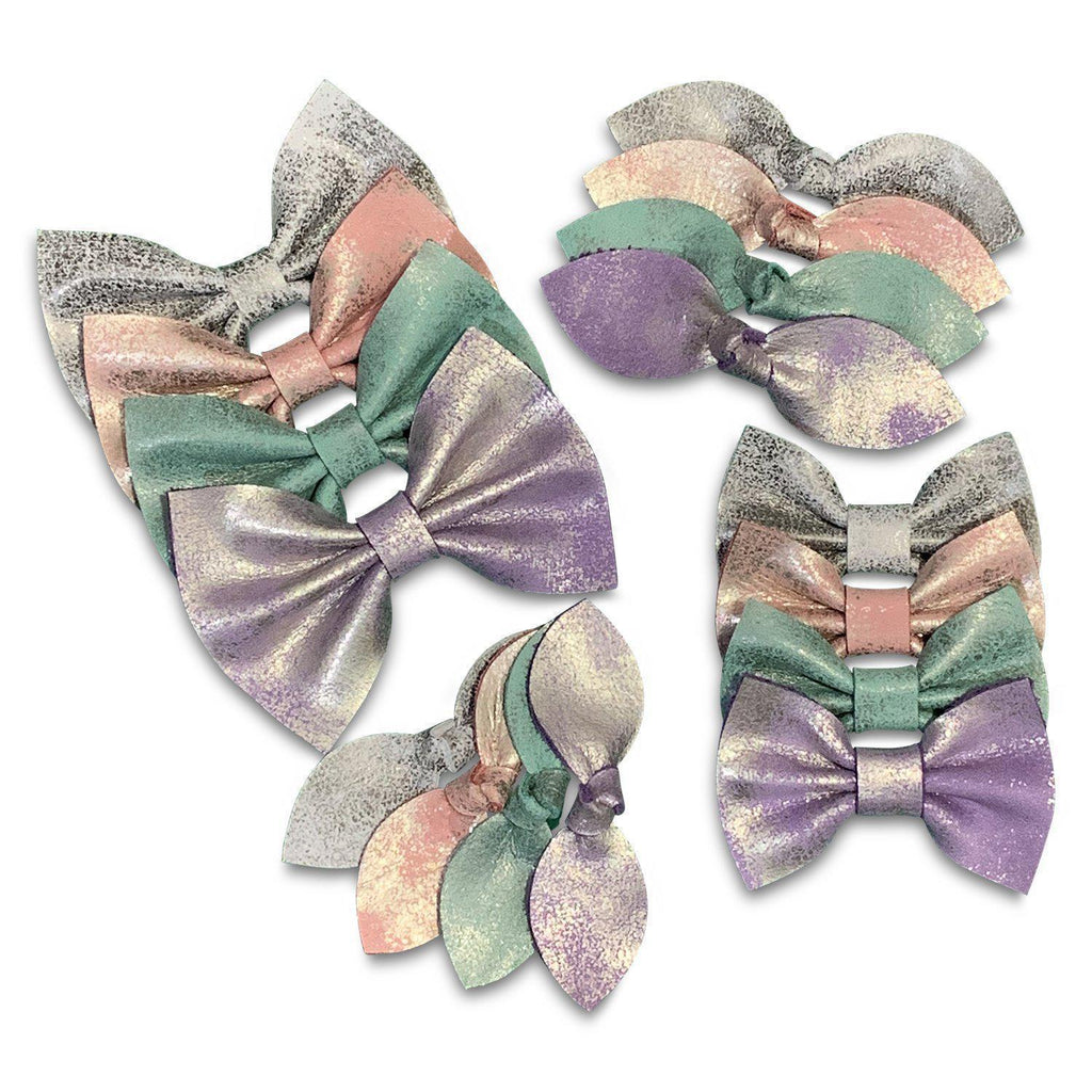 Fairy Dust Pastel Leather Hair Bows-no slip leather hair bows no slip leather hair clips-Moo G Clips