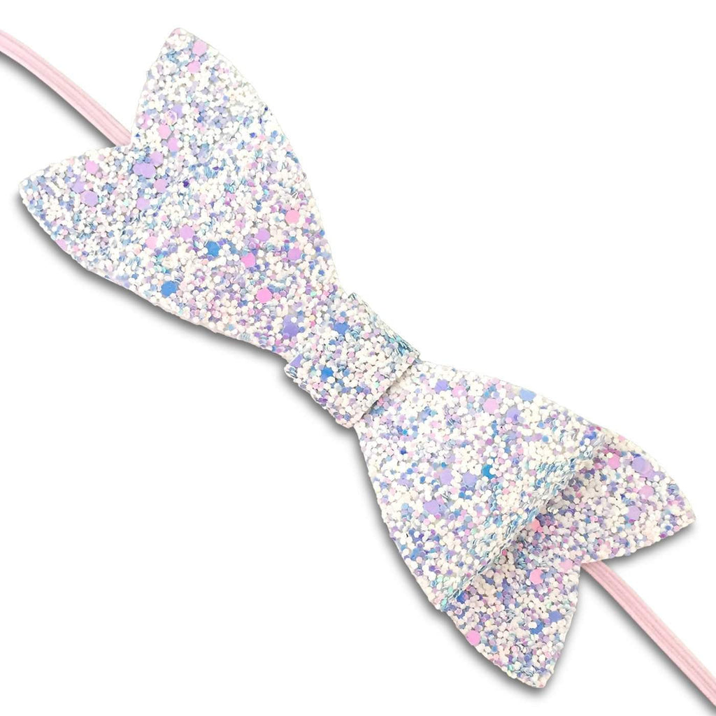 Glitter Bow Soft Headbands-baby headband - baby hair bow - baby gift-Moo G Clips