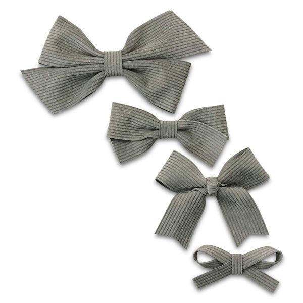 Grey Corduroy Leather Hair Bows-no slip leather hair bows no slip leather hair clips-Moo G Clips