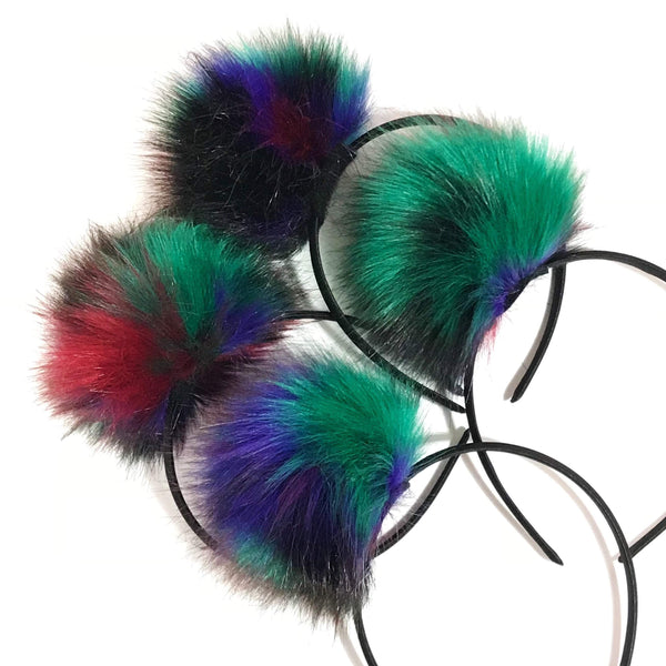 Large Multi Color Pom Bands-girls pom pom party headbands-Moo G Clips