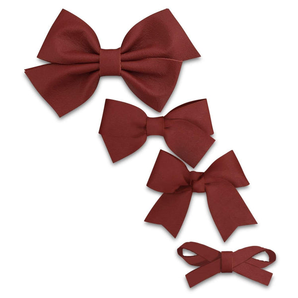 Matte Red Leather Hair Bows-no slip leather hair bows no slip leather hair clips-Moo G Clips