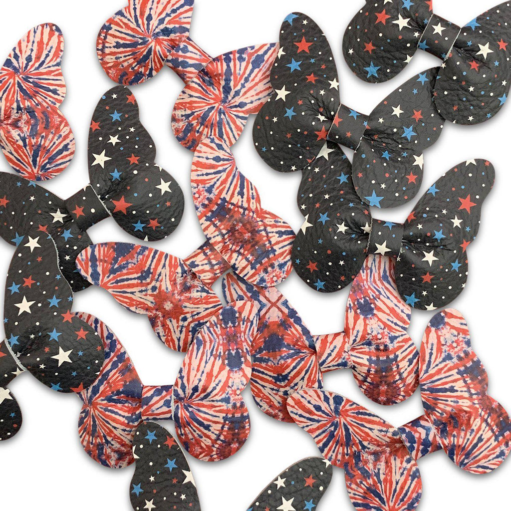 Medium Leather Patriotic Butterfly Hair Clips-no slip leather hair bows no slip leather hair clips-Moo G Clips