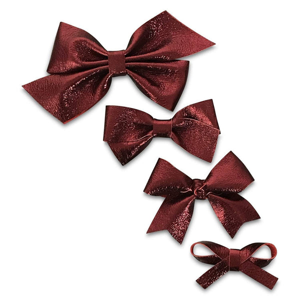 Metallic Maroon Leather Hair Bows-no slip leather hair bows no slip leather hair clips-Moo G Clips