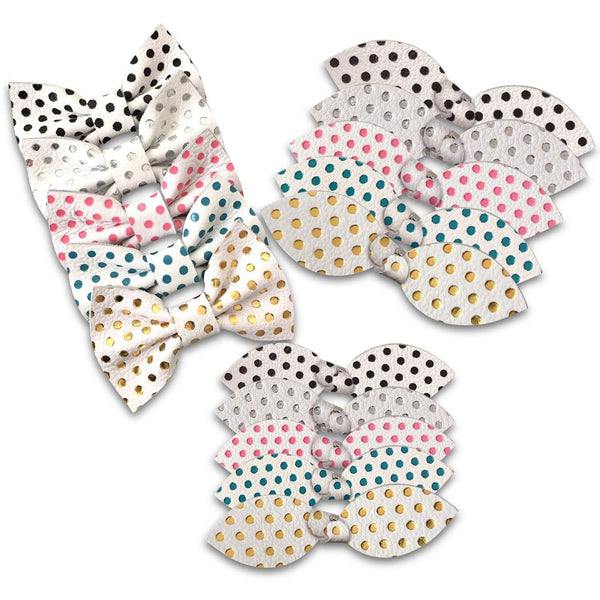 Mini Dots Leather Hair Bows-no slip leather hair bows no slip leather hair clips-Moo G Clips
