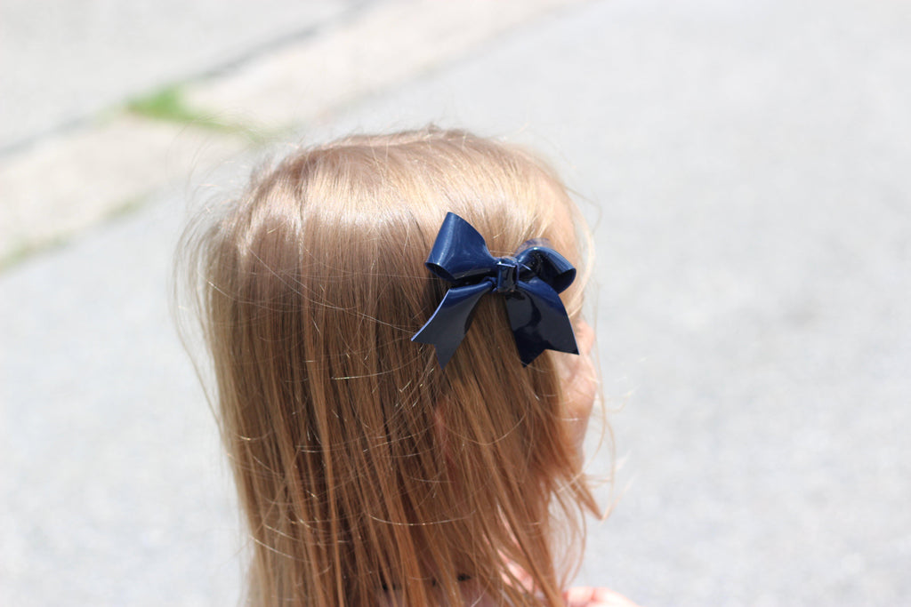 Navy Blue Patent Leather Hair Bows-no slip leather hair bows no slip leather hair clips-Moo G Clips